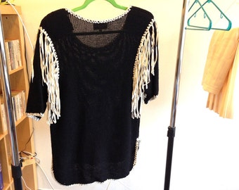 Boho leather fringed cotton sweater George Anthony black vintage knit with hand tied leather fringe and blanket stitching