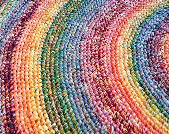 Made To Order 9 Foot Rainbow Rug/Rugs/Rug/Round Rugs/Round