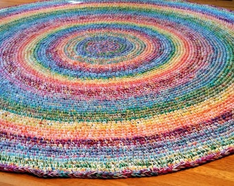 Made to Order 6 foot Rainbow Rug/Rugs/Rug/Round Rugs/Round Rug/Area Rugs/Large Floor Rugs/Nursery Rugs/Crochet Rugs/Handmade Crochet Rugs