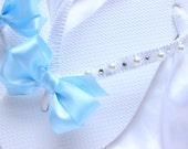 Flat sandals Bridesmaids favor, Party Favors flip flops Light Blue Beach Wedding Flip Flops Bridal shower gift idea beach wedding flip flops