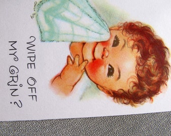 Charlot Byj baby wiping off grin birthday card / baby birthday card / 1940's small talk get well card