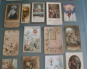 17 Antique French Prayer Cards c1900-1935 Vintage Catholic Religious Devotion First Communion Holy Souvenir