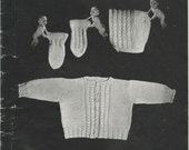 Vintage Pattern, Infants 3 piece knitted set  , knitting pattern,  PDF pattern, sweater, hat and mittens.