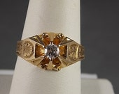 Victorian Diamond Ring OEC .39Ct Belcher Mounting Yellow Gold 14K 6.7gm Size 11.25 Unisex Wedding Right Hand
