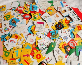 Vintage Large Grab Bag Mixed Toy Pieces Craft Pack Card Pieces Monopoly Alphabet Numbers 750Grams