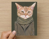 Cooper - Greeting Card - Blank Inside - Cats In Clothes