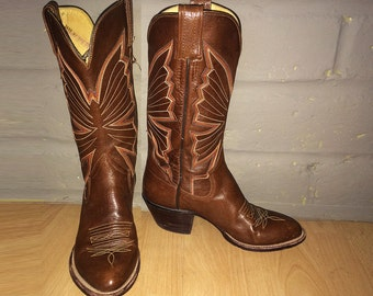 Fancy Vintage 70s Butterfly Cowboy Boots Brown Leather Hippie embroidered Butterflies Leather lined, leather sole, stacked leather heel 7-8