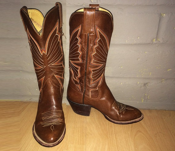 Fancy Vintage 70s Butterfly Cowboy Boots Brown Leather Hippie