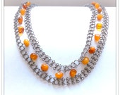 Amber silver necklace, vintage Baltic, chainmaile, statement