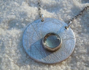 Artisan Jewelry Silver Jewelry, Silver Necklace, Silver and Gray Stone, Silver Circle Pendant