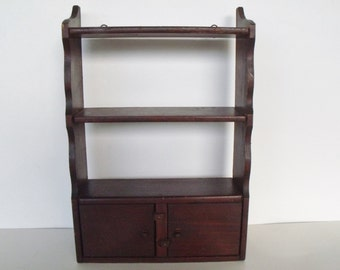 "Display Shelf Cabinet 12"" Wooden Antique 2 Doors 3 Shelves Primitive"