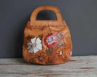 Boho Patchwork Leather Hand Painted Purse