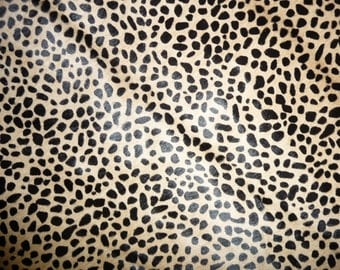 """Hair On Leather 5""""x11"""" MINI Wild Cheetah Creamy Camel Brown with Black Spots Animal HOH Cowhide #113 PeggySueAlso™"""