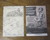 """Daisy Stagecoach Strongbox original frontier gun booklet and Original """"trails across the Old West stagecoach map."""""""