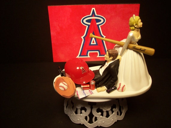 angels baseball wedding cake topper anaheim la baseball or your team and groom 10763