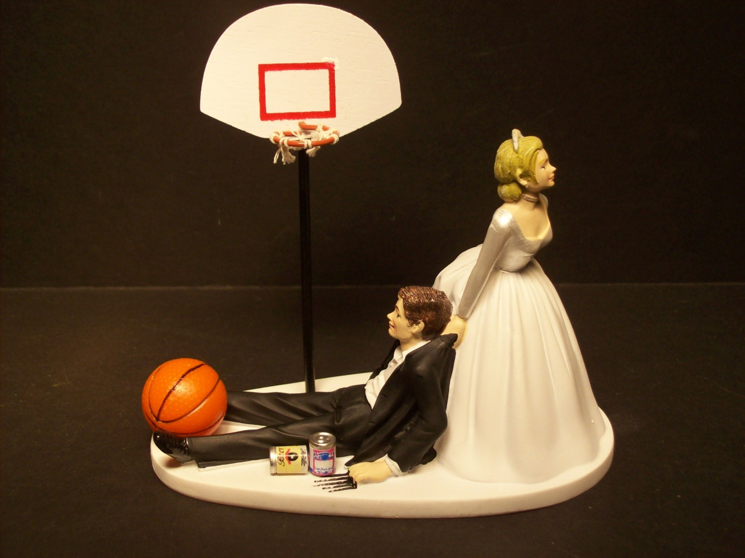 BASKETBALL with Goal Bride and Groom Wedding Cake Topper Funny