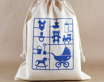 Baby Shower Bags Baby Boy, Medium Size, Reusable Drawstring Pouches, Blue Screenprint, larger quantities available