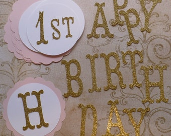 Scallop Circles Princess Gold Glitter Letters HAPPY BIRTHDAY Die Cuts DIY Kids Crafts Birthday Party Banners Baby Girl