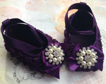 Baby Girl purple Satin Rosette Crib Shoes  ,Baby Shoes, Ready to ship