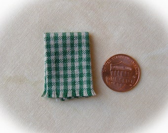 Miniature woven kitchen towel - green gingham, 1:12 scale