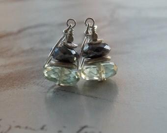 Green Amethyst and Labradorite Sterling Silver Dangle Earrings, Dainty, Gemstone Earrings, Modern Earrings, February Birthstone