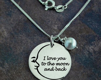 Moon necklace, Love Necklace, Handcrafted necklace, Custom necklace, Personalized necklace, Sterling Silver, I love you to the moon and back