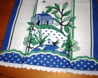 Vintage Farm Scene Dish Towel with Hand Embroidered Edges