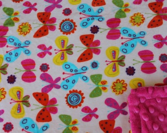 Minky Blanket Multi Color Butterfly Print Minky with Hot Pink Dimple Dot Backing - perfect blanket for a baby or toddler, stroller blanket