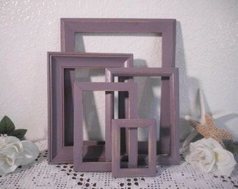 Purple Frame Set Rustic Beach Cottage Shabby Chic Picture Photo Gallery Collection French Country Farmhouse Home Decor Wedding Decoration
