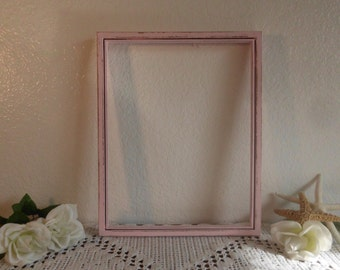 11 x 14 Pink Picture Frame Shabby Chic Distressed Picture Photo Nursery Home Decor Wedding Baby Girl Shower Decoration Birthday Gift for Her