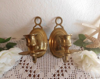 Vintage Gold Brass Sconce Set Two Pair Taper Candlestick Hollywood Regency Paris Apartment Mid Century Romantic Cottage Home Decor Gift Her
