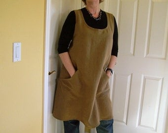 Pinafore Apron, Cross back Linen Apron, Flowing Full Womens Apron, Teacher Cover-Up, Artist Smock, Gardening Apron