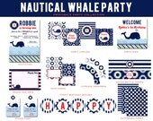 Nautical WHALE  Birthday Party- Printable Party Package, Whale Invitation and Decorations