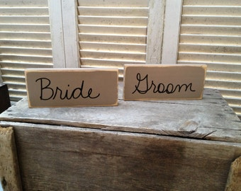 Khaki and Black Bride and Groom Signs, Wooden Wedding Signage, Reception Signs