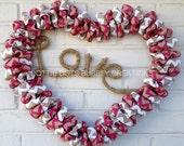Natural Pink White Tan Love Design Burlap Heart Wreath