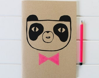 Panda Kraft Notebook Sketchbook - Screen Printed, Block Printed, Neon Pink