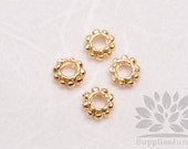 MB034-02-G// Gold Plated 5mm Mini Ripped Metal Rondelle, 10 pcs