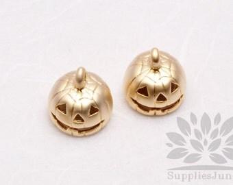 P581-MG// Matt Gold Plated Halloween Pumpkin Pendant, 2 pcs