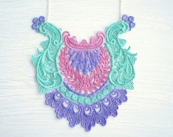 Purple Pink and Green Lace Statement Necklace