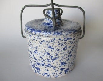 Blue Speckled Ceramic Crock with Wire Clasp Lid Jar with Lid