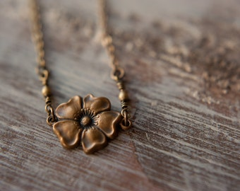 Brass Blossom Necklace in Aged Brass