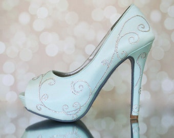 "Wedding Shoes -- Aqua Platform Peep Toe Bridal Heels with Silver Crystal Filigree Design, Painted Sole and Rhinestone ""I Do"""