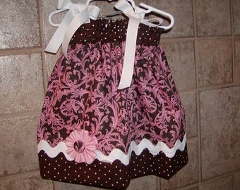 Girls Pillowcase Dress Infant toddler..Pink and Brown Damask...sizes 0-6, 6-12, 12-18, 18-24 months, 2T, 3T..Bigger sizes AVAILABLE