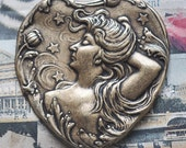 Art Nouveau brass heart with lady and stars, Brass Ox
