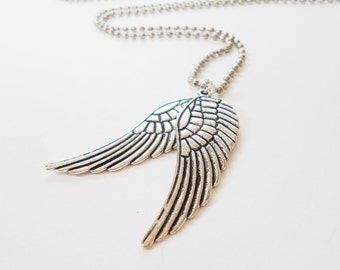 Mens Angel Wings Necklace, Everyday Necklace, Stainless Steel Charm Necklace, Unisex Necklace, Cool Mens Necklace, Gift for Him Her