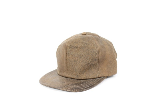 90s Distressed Leather Hat Ball Cap Brown Flat Bill Men's