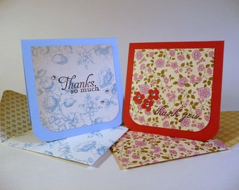 Mini Thank You Cards, patterned handmade envelopes, set of 4, 3 inch square, cottage chic floral note cards, blank inside, hand stamped
