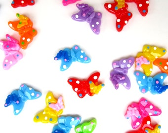 70 Resin Multicolor Bow Cabochons for Jewelry Making Crafting