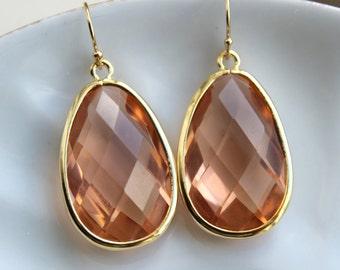 Large Blush Champagne Earrings Peach Gold Earrings Teardrop Glass Bridesmaid Earrings Wedding Earrings Jewelry Pink Bridesmaid Jewelry