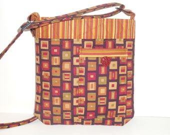 Multi-colored Orange, Burgundy, and Green Square Print with Striped Coordinating Fabric and Front Pocket Quilted Crossbody/Crossbody Purse